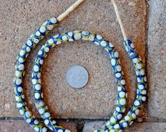 Krobo Beads: Blue/White/Yellow 8x20mm