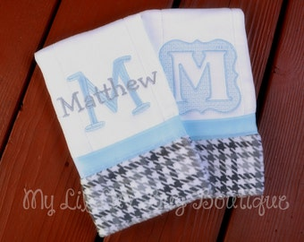 Personalized Burp cloth set prefold diaper- baby blue with grey houndstooth print- set of two