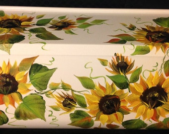 ws hand Painted wall mount mailbox, RUSTIC SUNFLOWERS, horizontal or vertical, black or white
