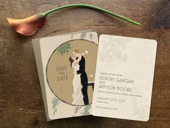 Art Deco Wedding Invitations, Art Deco Save the Date, Printed Wedding Invitations, Glam Wedding Invitation, 1920s Wedding, My Man Godfrey