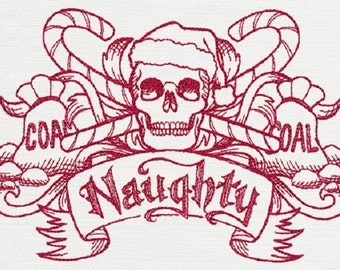 Naughty Christmas Crest Embroidered Cotton Kitchen Hand Towel