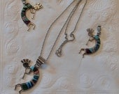 Vintage Kokopelli Jewelry with Inlaid Ceramic Color