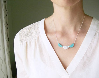 Modern Necklace, Turquoise, Garland Jewelry, Scallop, Marble Look, Simple, White,  Stone, Black, Marbled, Silver, Half Moon