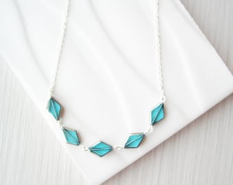 Aqua Necklace, Czech Glass Jewelry, Simple, Dainty, Diamond, Modern, Contemporary, Silver, Blue, Beaded