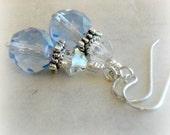 Sky Blue Antique Inspired Earrings Czech Glass Victorian Jewelry Blue Renaissance Jewelry Vintage Style Earrings