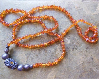 Vintage Bohemian Genuine Amber and Silver Bali Beads extra long Necklace Beaded