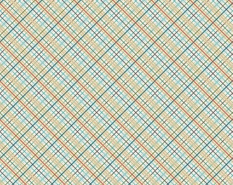 Blue, Red, Tan Plaid Fabric - Offshore from Riley Blake - Full or Half Yard Offshore Plaid Tan