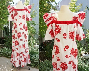 1990's Hawaiian Dress Traditional REd White Floral Puffed Sleeves Vintage REtro 90s Small Medium Maxi Liberty House Tiki Luau