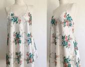 ON SALE Vintage 80s / White / Roses / Floral Print / Babydoll / Bpudoir / Nightie / Large