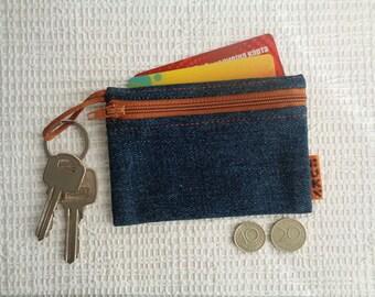 4 in 1 - denim coin purse / key chain pouch / key pouch / card holder / car documents wallet