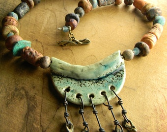 Primitive Jewelry Necklace Southwestern Rustic Clay Artisan Ceramic Aqua Pendant