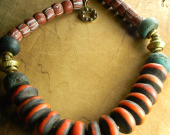 Tribal Jewelry African Necklace Moroccan Copal Choker Orange Green Hebron Trade Beads