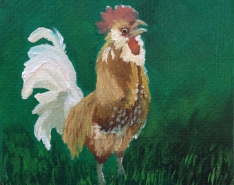 Rooster Painting, Proud Leader, Daily Painting, Original Chicken Art