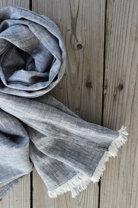 Black scarf, christmas gift 4 her,  linen scarf, pure linen scarf, linen scarf for men, handmade scarf, boyfrend gift, christmas gift ideas