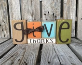 Give Thanks wood block set seasonal thanksgiving fall autumn pumpkin gift sign personalized