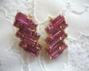 Vintage Rhinestone Earrings ~ Clip On ~ Raspberry Pink Rhinestones