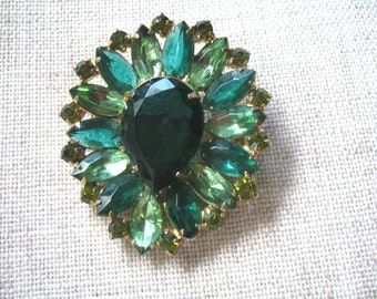 Vintage Large Green Rhinestone Brooch