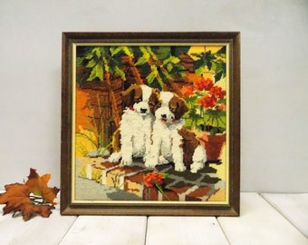 Beagle Puppies Vintage Handworked Needlepoint--- Pair of Beagle Pups Framed Wall Hanging---Dog Lover Gift