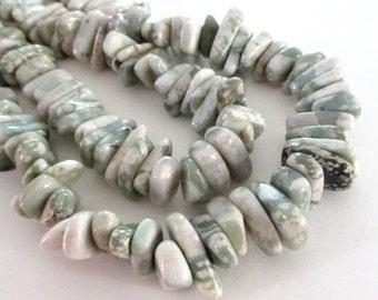 "Jasper Beads - Chunky Nugget Beads - Green White Gemstone - Army Stripe Smooth Irregular -Thick Chip Nugget - 7.5"" - Jewelry Making"