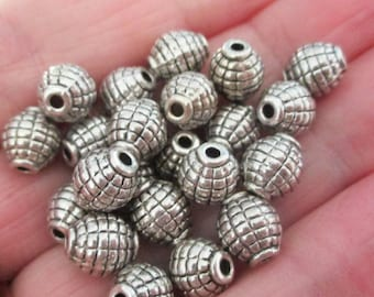 Silver Spacers - Silver Barrel  Shaped Beads - Silver Pewter Oval - Drilled Spacer Beads - 6mmx8mm - 32 Pcs - DIY Metal Jewelry Findings