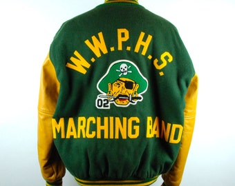 1970's Green and Gold Letterman Jacket by Hewitt Manufacturing