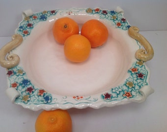 Serving dish/bowl/milefiore/millefiore pattern/veggie bowl/fancy serving dish/ready to ship/pottery bowl