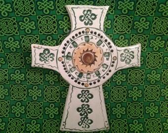 Celtic cross/irish cross/celtic knots/cricifix/irish pottery/celtic pottery/saint patricks day