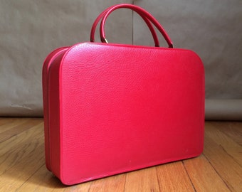 brilliant red vintage 1960's attache case / tote / purse / mini suitcase / mod retro