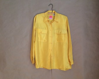 vintage 1990's Oleg Cassini baggy fit golden yellow silk blouse /oversized 90's womens shirt / button down