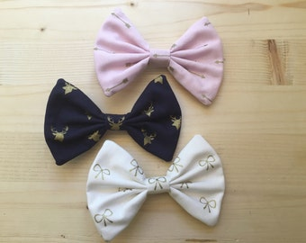 Hair bow 3 pack white navy light pink gold  bows arrows deer