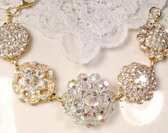 Rhinestone & Crystal Gold Bridal Bracelet, Vintage Cluster Earring Bracelet Bridesmaid Gift Old Hollywood Glam Metallic Wedding Mother Bride