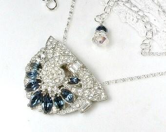 Antique Art Deco Sapphire Rhinestone Bridal Necklace, 1930 Silver Navy Blue Pendant Vintage Wedding Pave Crystal Dress Clip Gatsby Flapper