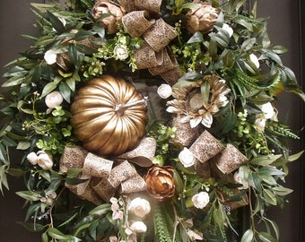 Fall Wreath, Pumpkin Wreath, Metallic Fall Decor, Thanksgiving Wreath, XL Fall Wreaths, Bronze Wreath