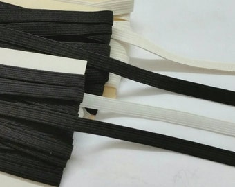 3/8'' in, 6yds Braided or Knitted Elastic - black or white