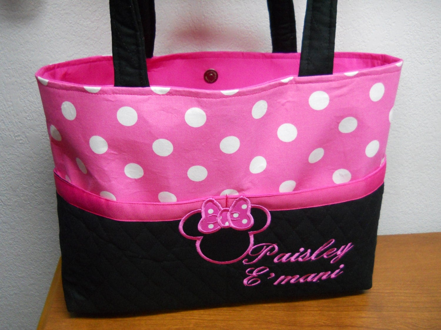 Minnie Mouse Diaper Bag Pink and Black Diaper ...