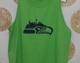 Sweet Hawks Tank Top With City Skyline in Lime Green with Navy Blue Logo. Mens size Large or Medium