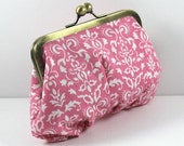 Sale Clutch in Cotton Pink and White Bag in Antique Gold Frame, Essentials, Sewing bag, Cosmetic bag, Money and Keys bag FREE SHIPPING