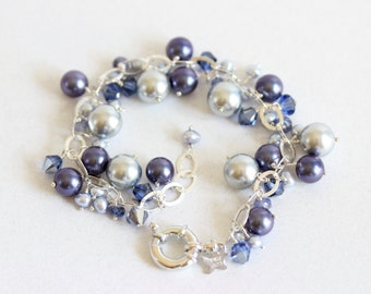 Chunky Pearl Cluster Bracelet, Blue, Pearl Cluster Bracelet, Statement Bracelet, Sterling Silver, Fine Jewelry, Adjustable Size