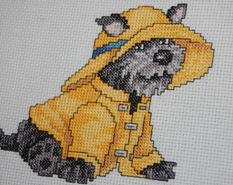 "RAINCOAT PUPPY - ""Completed and Framed Cross Stitch"""