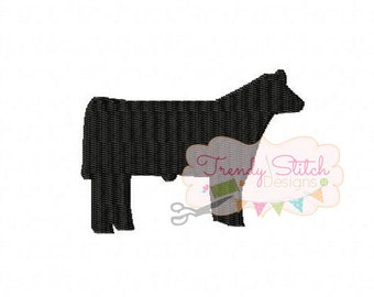 Show Steer 2 MINI Machine Embroidery Design Made To Match Filled Stitch INSTANT DOWNLOAD