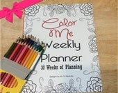 Weekly Planner Coloring Book 30 weeks of planning and  Coloring Book Gift SET