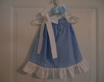 Dorothy Wizard of Oz inspired dress costume blue gingham size 0-3 months thru size 8 years