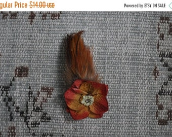 SHOP CLOSING SALE Feather and Flower Hair Clip Brown Pink Orange Green Fascinator Flapper  Barrette