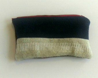 "Wool Zipper Pouch, 9"" X 5"""