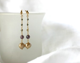 Gold Freshwater Pearl and Ruby 14K Gold Filled Long Earrings