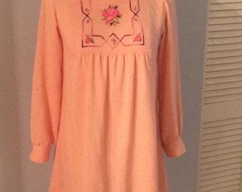 70s Embroidered Mini Dress