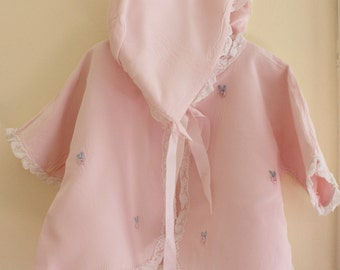 Baby Girl Bed Jacket w Matching Bonnet Infant Layette Pink Nylon Satin Lined