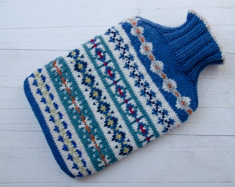 Knitted Hot water bottle cover merino wool fairisle Multicoloured blues and greens