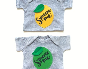 Twin Baby Announcement, Baby Clothes, Pun Bodysuit, Twin Set, Baby Shower Present, Funny Baby Gift, Lemon Lime, Squeeze Me Infant Romper