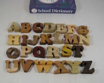 Toy Alphabet Letters in Wood for Child's Decor or Education